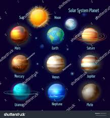 Royalty free Solar system 8 planets and pluto with…