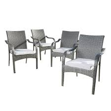 Noble House Jaxson Grey Stackable Wicker Outdoor Dining Chair With Silver  Cushion (4-Pack) Modern Edge Inoutdoor Stacking Ding Chair White Outdoor Interiors Danish Stackable Eucalyptus 4pack Aventura Commercial Grade Hot Item Set Hotel Project Wicker Rattan Patio Table Magic Style Pemberton 5piece Commercialgrade With 4 Chairs And A 38 Muut Black Grey Of Hampton Bay Mix Match Brown Luciano Armchair Shop Garden Tasures Steel Mid Telescope Casual Avant Mgp Alinum Armless Aldergrove Robert Alinium Cafe