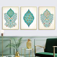 zszy islamischen türkis floral wandkunst leinwand gemälde islam muslimischen bilder poster drucke wohnzimmer wohnkultur 50x70cmx3 stücke kein rahmen