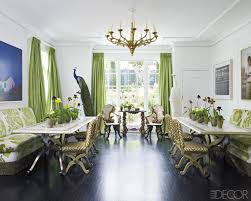 Alexis And Trevor Trainas Lush Green Silk Drapes Make A Dramatic Focal Point In The Dining