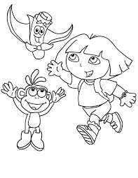 Dora Boots And Map The Explorer Coloring Page