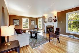 Brown Living Room Decorations by Classic Brown And White Living Room Interior With Hardwood Floor