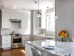 shaker cabinets white kitchen transitional with ceiling lights