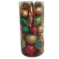 Trimming Traditions Gold Red And Green Shatterproof Christmas Ornament Set 100 Ct