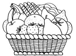 Basket Of Fruits Coloring Pages With Fruit