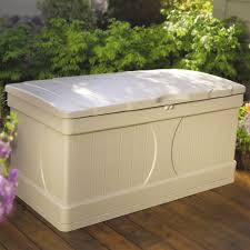 Suncast 195 Gallon Deck Box Manual by Suncast Premium 127 Gallon Deck Box With Seat And Storage Tray