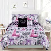 Bedding King 7 Piece forter Bed Set Paris Eiffel Tower London