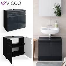 vicco waschbeckenunterschrank freddy anthrazit hochglanz unterschrank badschrank
