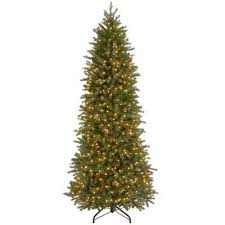 Jersey Fraser Fir Artificial Christmas Pencil Slim Tree With Clear Lights