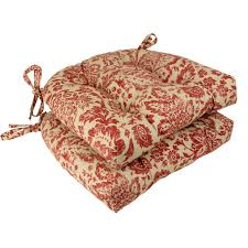 amazon com pillow perfect damask reversible chair pad red tan