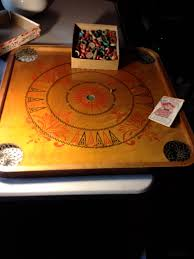 Antique Carrom Game Board Pieces And Instruction Book