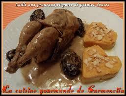 cuisiner des cailles en cocotte recette cailles aux pruneaux et purée de patates douces 750g