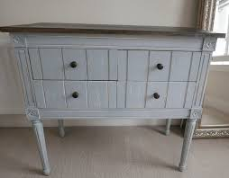 Rustic Style Blue Chest Of Four Drawers