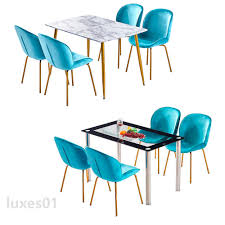Details About Rectangle Glass/MDF Dining Table Set And 4 Velvet Fabric  Dining Chairs Metal Leg Upholstered Modern Ding Room Chairs Mid Century Table Teal Blue Fabric Set Of 2 Edloe Finch Colorful Painted Inspiration Addicted Mod The Sims And Chair In 12 Fluro Colours Hot Item Extension Hpl Glass Grey Fniture Table With Chairs Lamps Whats On Pinterest Keep Calm These Beautiful Turquoise Amazing Resin Gorgeous Oak 6 Made For Sale Weybridge Surrey Gumtree American Drew Park Studio Contemporary 9 Piece Bright In Style With Designer Kitchen Lazboy