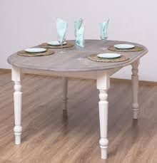 casa padrino landhausstil esstisch grau weiß 160 x 120 x h 78 cm ovaler massivholz küchentisch mit eichenholz tischplatte esszimmer möbel im
