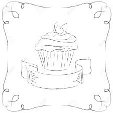 Black and white drawing of a cupcake Stock Vector