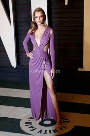 josephine skriver cutout plunging long sleeve purple prom