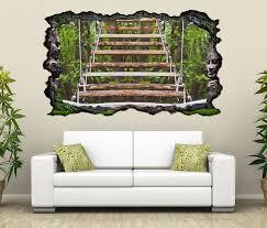 3d wandtattoo treppe holz wald hängetreppe selbstklebend wandbild wandsticker wohnzimmer wand aufkleber 11o1130
