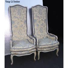 French Accent Chair Blue by French Provincial Tall Highback Blue Floral Down Accent Chairs A