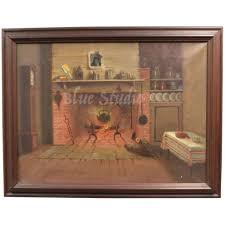100 Victorian Era Interior Original Of Cabin Or Primitive Home W Cast Iron Pot In Open Fire Original Painting In Wood Frame
