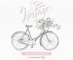 Vintage Bicycle With Floral Bouquet Clipart Wedding Invitation Clip Art Graphics Commercial Use Rustic CM0062a