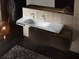 Two Faucet Trough Bathroom Sink by Double Faucet Trough Bathroom Sink Sassoty Com