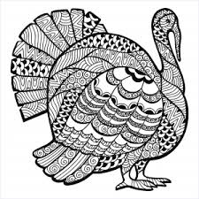 Turkey Zentangle Coloring Sheet Thanksgiving Page