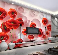 großhandel benutzerdefinierte größe tapete stilvolle 3d rote blumen kreis blume wohnzimmer schlafzimmer hintergrund wanddekoration wandbild tapete
