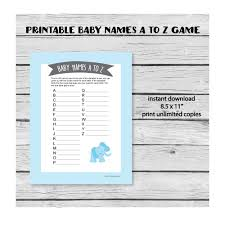 Baby Names A To Z Game Blue Elephant Theme Print It Baby