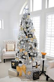 Gold Black And White Striped Polka Dot Modern Holiday Christmas Tree By Kara Allen