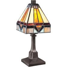 Tiffany Style Lamps Vintage by Quoizel Stephen Tiffany Style Glass Vintage Bronze Finish Desk