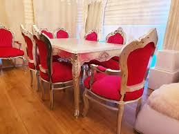 barock esszimmer set 1 tisch mit glasplatte 6 stühle silber