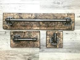 Rustic Bathroom Accessories This Industrial One Of A Kind Set Includes 3 Items Modern