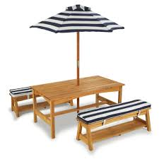 100 Wooden Parasol Kinder Garden Picnic Table With Cushions And Parasol