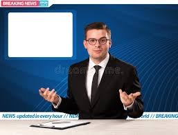 Download Television Reporter Telling Breaking News At His Studio Desk Wit Stock Image