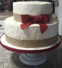 Rustic 2 Tier Cake With Burlap Ribbon And Red Bow