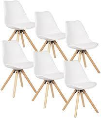 woltu 6 x esszimmerstühle 6er set esszimmerstuhl mit sitzfläche aus kunstleder design stuhl küchenstuhl holz weiß bh52ws 6