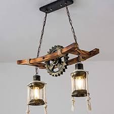 e27 pendelleuchte vintage eiche hängeleuchte esszimmer pendelle industrial metal schmiedeeisen gear hängele retro deckenleuchte bambus landhaus