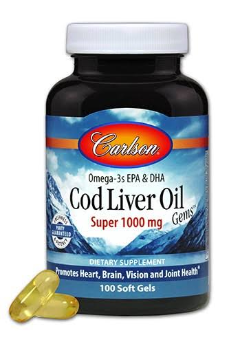Carlson Cod Liver Oil Gems Super - 1000 mg, 100 soft gels