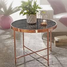 beistelltisch ø 60 cm in marmor optik schwarz wohnzimmertisch in kupfer couchtisch wohnzimmer bronze wohnling