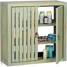 relaxdays hängeschrank vintage bambus 2 türen magnetverschluss 2 einlegeböden bad küche hbt 50 x 52 x 20cm grün