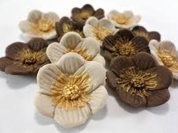 Rustic Wedding Edible Sugar Fondant Flower Cake Topper Cupcake Brown Ivory Gold Baby Bridal Shower Rose Gumpaste Party Decor Set 24