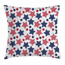 USA Throw Pillow Cushion Cover Big Star Figures with American