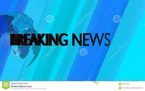 Broadcast Graphics Title Breaking News Computer Generated Animation Blue Background With Spinning Globe