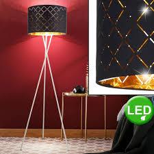 etc shop stehle led design stehleuchte standle beleuchtung lese licht textil schirm schwarz gold wohnzimmer schlafzimmer flur diele büro