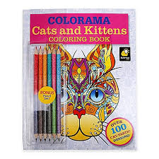 ColoramaTM Cats And Kittens Coloring Book With Colored Pencils