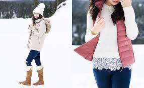 Cute Winter Outfit Uniqlo Womens Puffer Vest Pom Beanie UGG Boots
