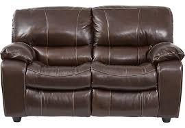 Sanderson Walnut Leather Reclining Loveseat Leather Loveseats