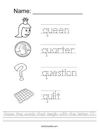 Trace the words that begin with the letter Q Worksheet Twisty Noodle