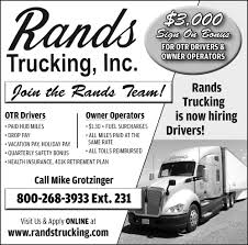 OTR Drivers / Owner Operators, Rands Trucking, Inc, Medford, WI My Swift Transportation Paycheck With 3277 Miles 2017 Wheels Ooida Cost Per Mile Calculator Expense Fee Pay The Real Reason For Driver Shortage Super K Trucking Newnan Georgia Longhaul Truck Driving Jobs 200 Radius Of Nashville Tn Sutherland Walmart Truck Driver Makes 3 Million Safe Local Ubers Selfdriving Went On A 120mile Beer Run To Make Careers Pin By Schneider Sales Infographics Pinterest Cfi Raises Pay Set Purchase New Trucks Best Home Furnishings Seeking Over The Road Dubois